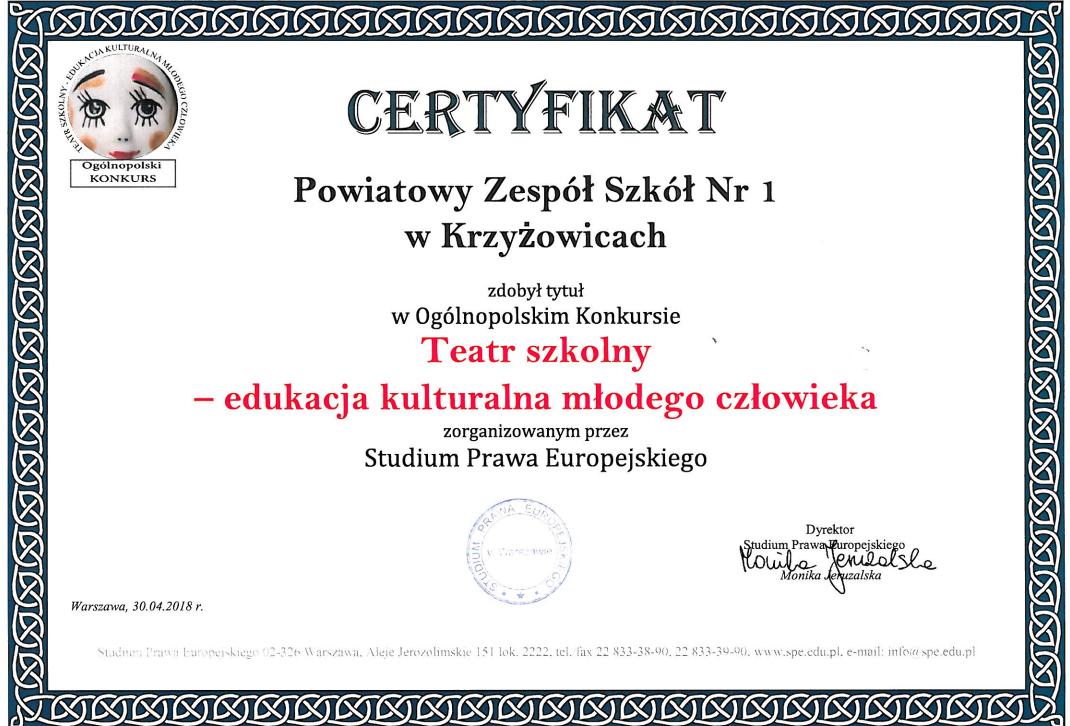 certyfikat koło teatralne